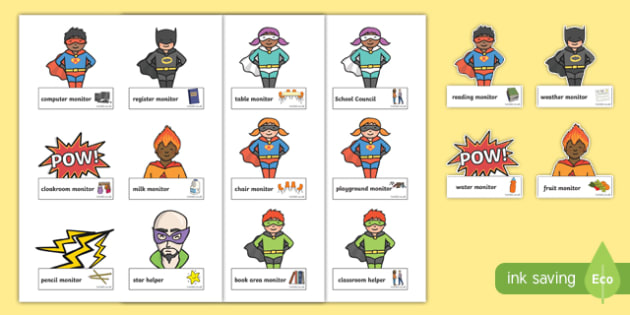 Superhero Classroom Monitor Labels