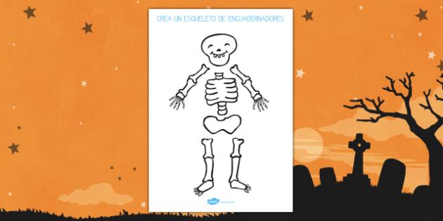 Ficha de motricidad fina..recortar Muñeco de esqueleto