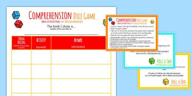 Reading Comprehension Dice Activity Polish Translation - polish, reading, comprehension, dice, activity
