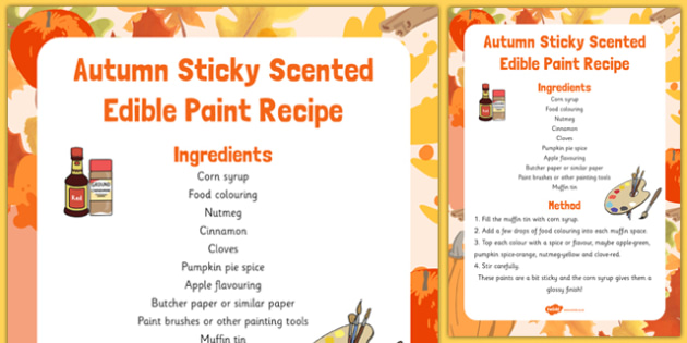 Autumn Sticky Scented Edible Paint Recipe - autumn, sticky, recipe, paint