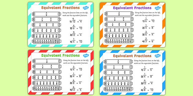 Equivalent Fractions Challenge Cards - fraction, numeracy, maths