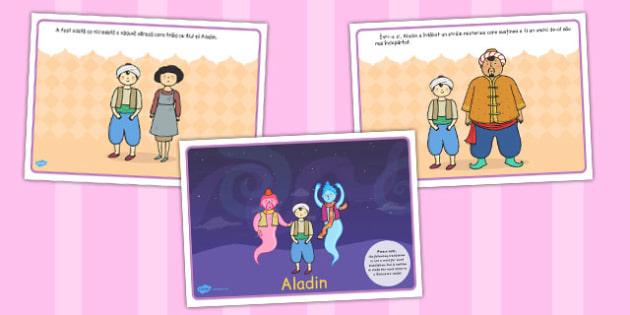 Aladin, lectura, rezumat cu imagini, planse imprimabile, Romanian