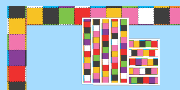 Patchwork Display Borders to Support Teaching on Elmer - Elmer, Elmer the elephant, resources, Elmer story, patchwork elephant, PSHE, PSE, David McKee, colours, patterns, story, story book, story book resources, story sequencing, story resources, Dis