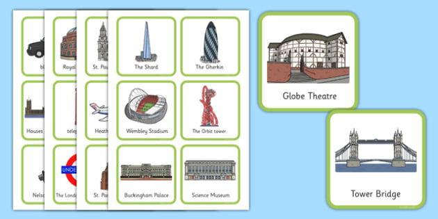 London Square Cards (Small) - London Square cards, cards, small, flashcards, London, England, Big Ben, London Eye, Houses of Parliament, Buckingham Palace, sightseeing