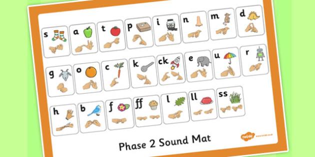 Phase 2 Mat with British Sign Language Fingerspelling - phase 2