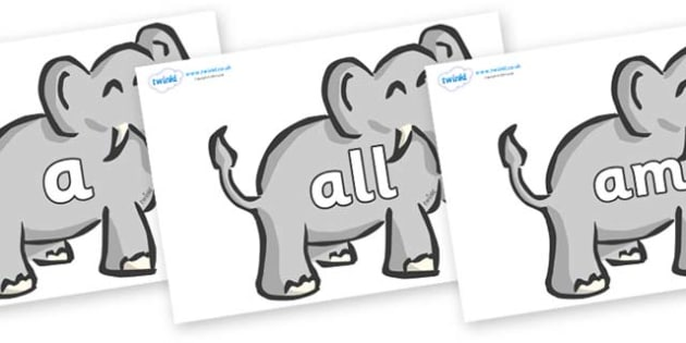 Foundation Stage 2 Keywords on Elephants - FS2, CLL, keywords, Communication language and literacy,  Display, Key words, high frequency words, foundation stage literacy, DfES Letters and Sounds, Letters and Sounds, spelling