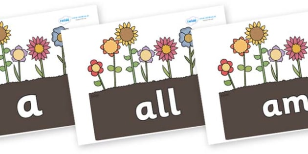 Foundation Stage 2 Keywords on Garden Flowers - FS2, CLL, keywords, Communication language and literacy,  Display, Key words, high frequency words, foundation stage literacy, DfES Letters and Sounds, Letters and Sounds, spelling