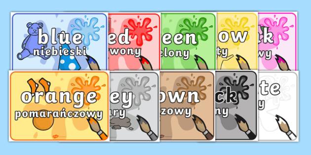 Colour Items Display Posters Polish Translation - red, orange, yellow, green, blue, ks1, eyfs, colour, art, visual, aid,