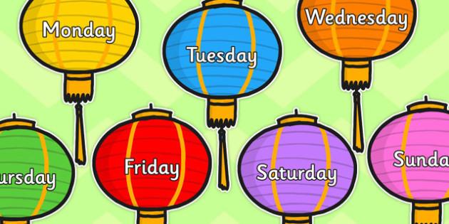 Days of week on Lanterns - chinese lanterns, days, week, Monday