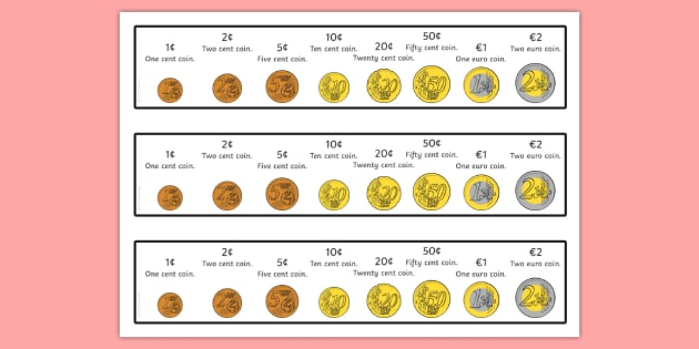 Euro Coin Strips - euros, money, coins, currency, visual aids