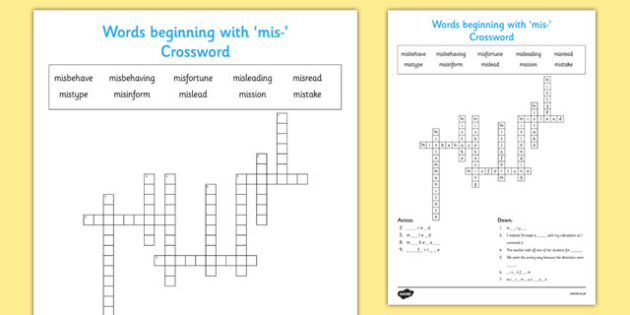 Words Beginning With mis- Crossword - crossword, mis, begin