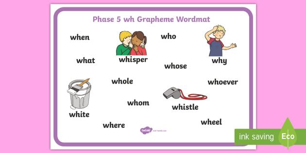 Phase 5 wh Grapheme Word Mat - phase five, graphemes, literacy