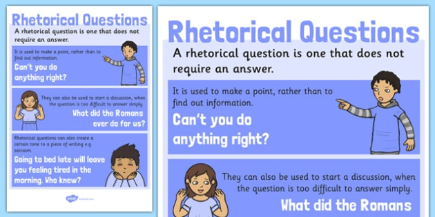 Rhetorical Questions Poster - english, literacy, grammar, sarcasm, questioning, techniques