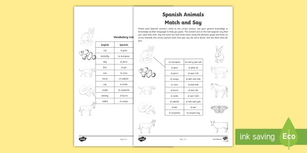 Spanish Animals Match and Say - spanish, animals, match, say, language