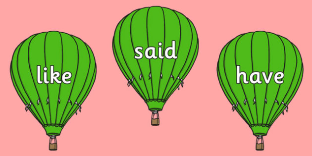 Phase 4 Tricky Words on Green Hot Air Balloons - phase, 4, tricky, words, green, hot, air, balloon, phonics, letters, sounds