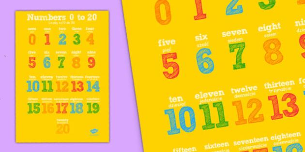 20 Numbers Poster Polish Translation - polish, 20, numbers, poster, display, display poster