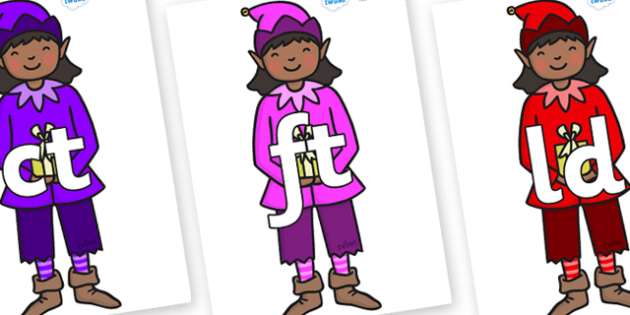 Final Letter Blends on Girl Elves (Multicolour) - Final Letters, final letter, letter blend, letter blends, consonant, consonants, digraph, trigraph, literacy, alphabet, letters, foundation stage literacy