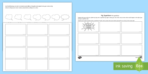 Father'S Day Superhero Comic Strip Storyboard Template