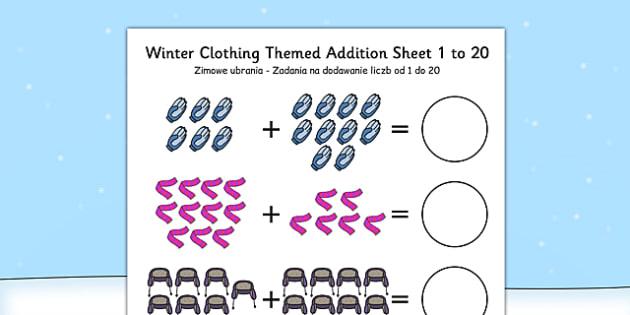 Winter Clothing Themed Addition Sheet 1-20 Polish Translation - polish, clothing, themed, addition, sheet, 1-20