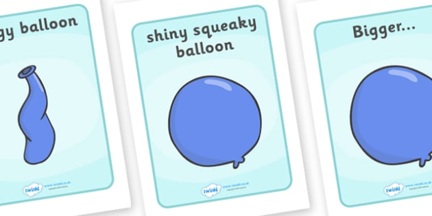 Visual Aids to Support Teaching on The Blue Balloon - blue balloon, visual aids, story, the blue balloon, Mick Inkpen, flying balloon, soggy balloon, up
