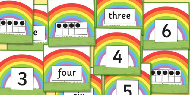 Rainbow Number Matching Cards - rainbow, number, matching, cards