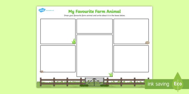 My Favourite Farm Animal Writing Frame - farm animal, writing