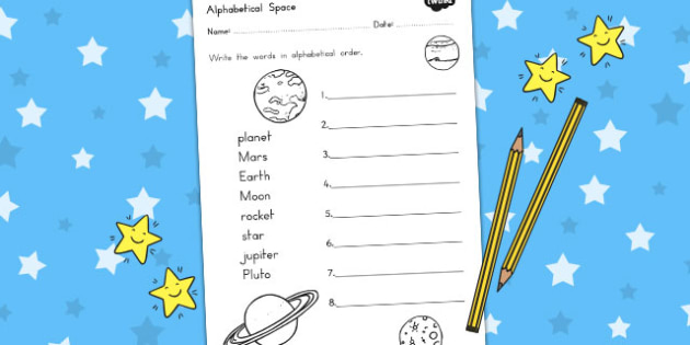 Space Alphabet Ordering Worksheet - australia, letters, order