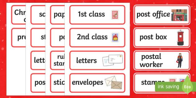 Christmas Post Office Word Cards - christmas post office, christmas, post office