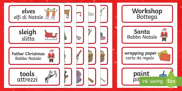 Santa's Workshop Role Play Topic Word Labels English/Italian - Santa's Workshop Role Play Word Cards -  Christmas, role play words, Grotto, workshop, elf, elves,