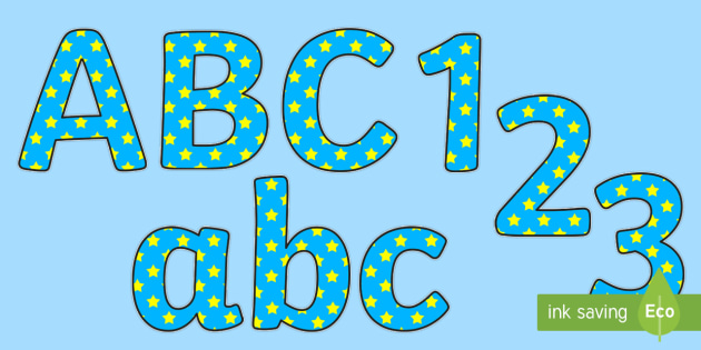 Blue And Yellow Stars A4 Display Lettering - blue, yellow, stars, display lettering, lettering for display, coloured lettering, cut out lettering, display