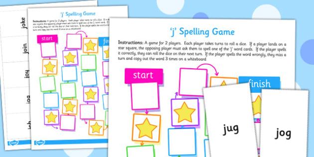 j Spellings Board Game - spellings, board game, spell, j, game