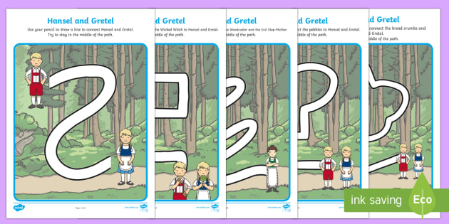 Hansel and Gretel Pencil Control Path Worksheets - control, path