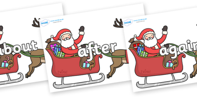 KS1 Keywords on Santa on Sleigh - KS1, CLL, Communication language and literacy, Display, Key words, high frequency words, foundation stage literacy, DfES Letters and Sounds, Letters and Sounds, spelling