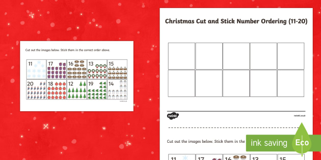 Christmas Cut and Stick Number Ordering 11-20 Activity Sheet