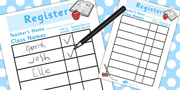 School Role Play Register - School Role Play Pack, school role play, register, teacher, stickers, certificates, reading diary, role play, display, poster