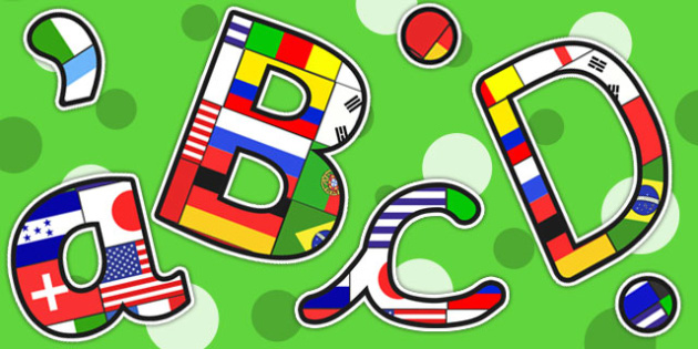 football world cup flag themed a4 display lettering