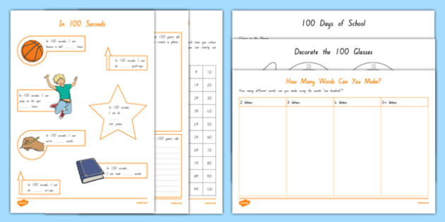 100 Days of School Activity Pack