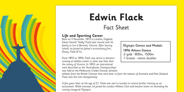 Australian Olympic Athletes Fact Sheet Edwin Flack - Australia, Olympic Games, Olympics, Paralympics, Athletes, Information, Fact Sheet, Reading Comprehension, Year 6 History