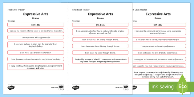 CfE Expressive Arts (Drama) First Level Child Friendly Tracking-Scottish - Child Friendly Tracking CfE, tracker, EXA, curriculum for excellence, 1st level, progression, I can,