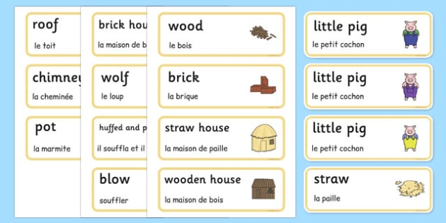 The Three Little Pigs Word Cards French Translation - french, Three little pigs, traditional tales, word cards, flashcards, tale, fairy tale, pigs, wolf, straw house, wood house, brick house, huff and puff, chinny chin chin