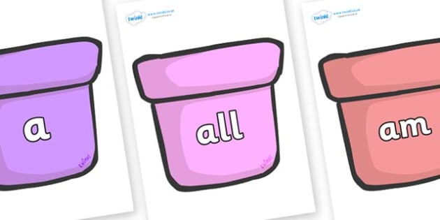 Foundation Stage 2 Keywords on Plant Pots - FS2, CLL, keywords, Communication language and literacy,  Display, Key words, high frequency words, foundation stage literacy, DfES Letters and Sounds, Letters and Sounds, spelling