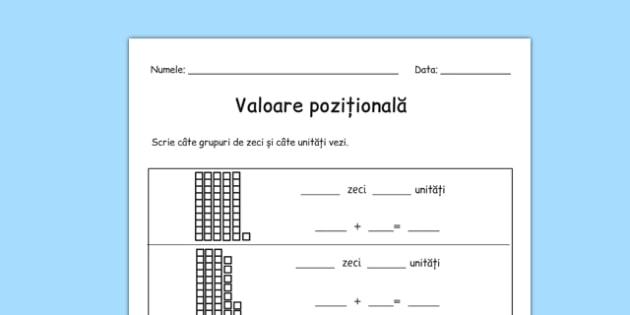 Zeci și unități - Fișă matematică - fișă de lucru, valoare pozițională, zeci, unități, sute, fișă de lucru, formarea numerelor, descompunere, formarea numerelor, valori, matematică, numere naturale, romanian, materiale, materiale didactice, română, r