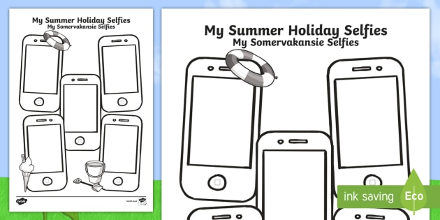 Summer Holiday Selfies Writing Template English/Afrikaans - Selfies, selfie, summer, summer vacation, summer holiday, mobile phones
