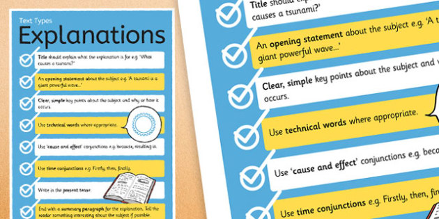 Text Types Guide Explanations Display Poster - explanations poster, writing an explanation poster, how to write an explanation, writing explanations, ks2