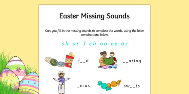 Easter Missing Sounds Worksheet - easter, phase 3, RE