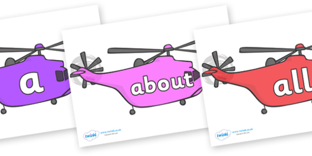 100 High Frequency Words on Helicopters - High frequency words, hfw, DfES Letters and Sounds, Letters and Sounds, display words