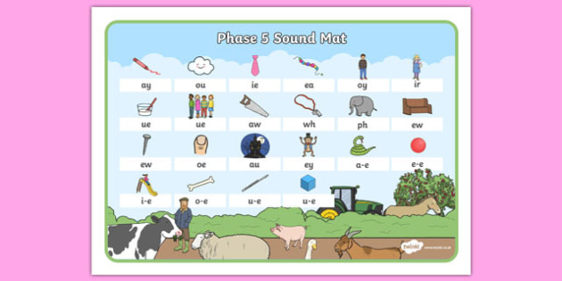 Farm Themed Phase 5 Sound Mat - farm, phase five, sound mat, visual aid, sounds