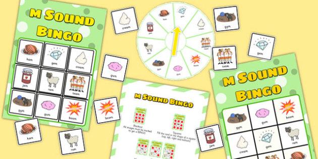 Final 'M' Sound Spinner Bingo - final m, sound, spinner, bingo