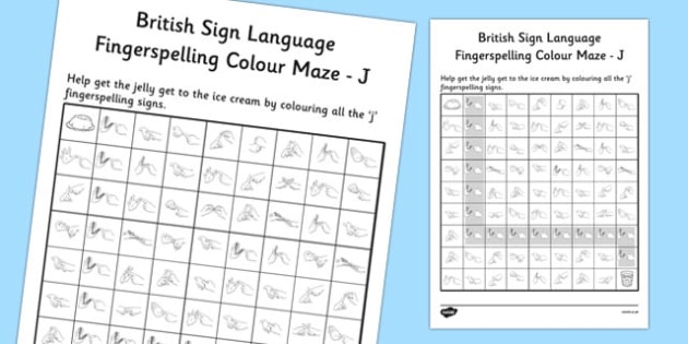 British Sign Language Left Handed Fingerspelling Colour Maze J
