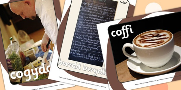 Cafe Display Photos Welsh Translation - roleplay, EAL, languages